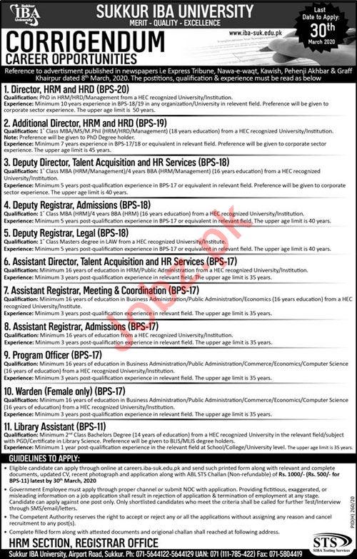 Sukkur IBA University Jobs via Siba Testing Services STS