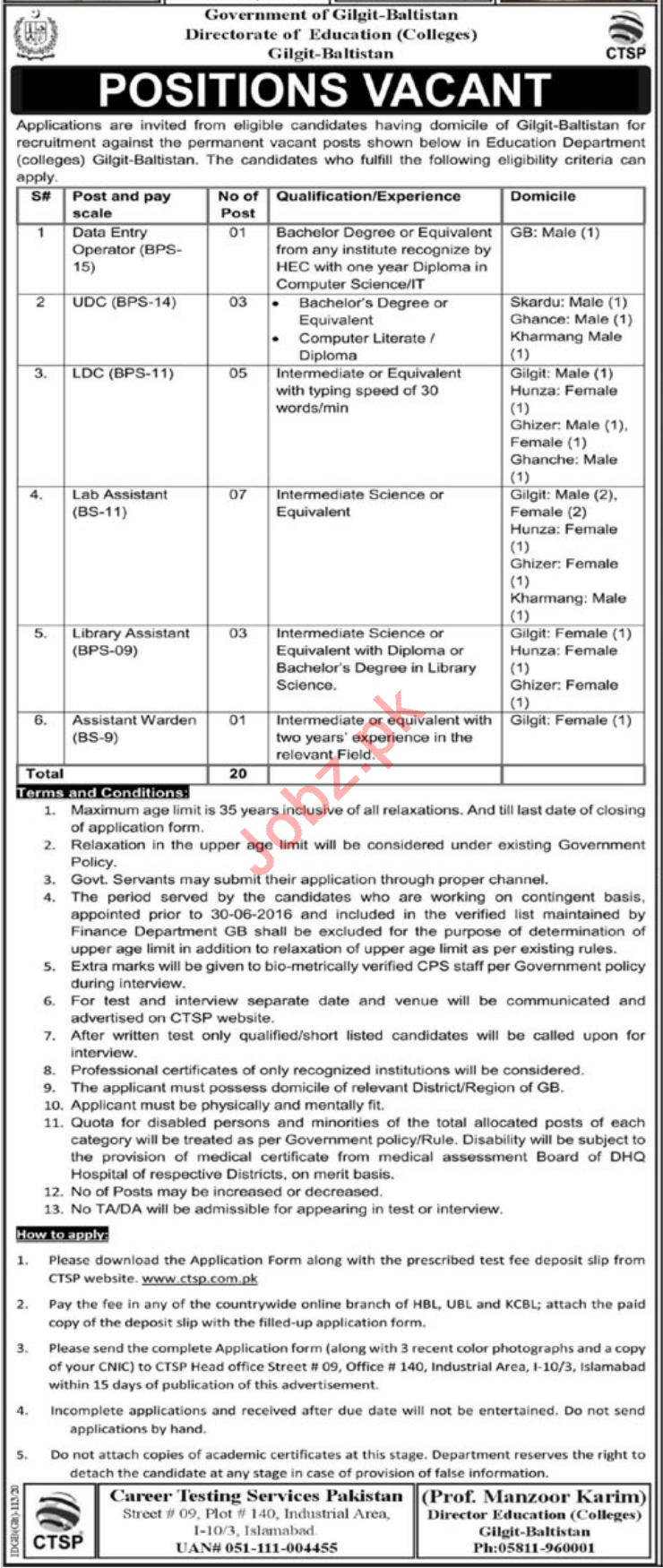 Director of Education Colleges Jobs 2020 via CTSP