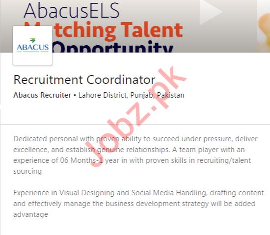 Abacus Recruiter Lahore Jobs 2020