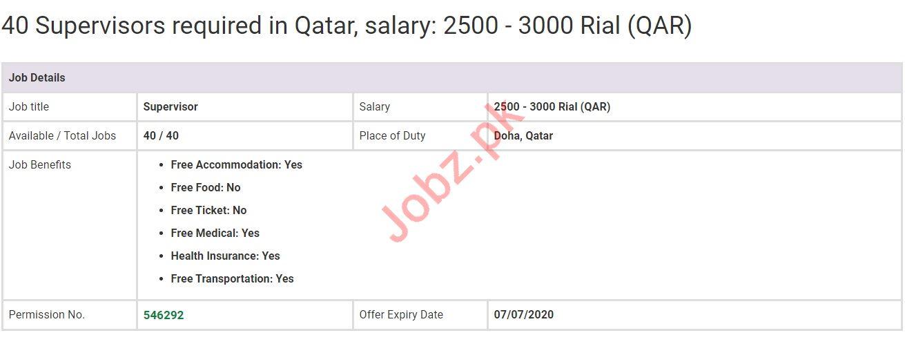 Supervisor Jobs in Doha Qatar