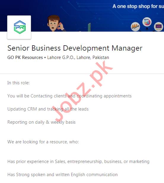 Senior Business Development Manager Job 2020