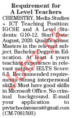 Teaching Staff Jobs in Educational Institute in Lahore