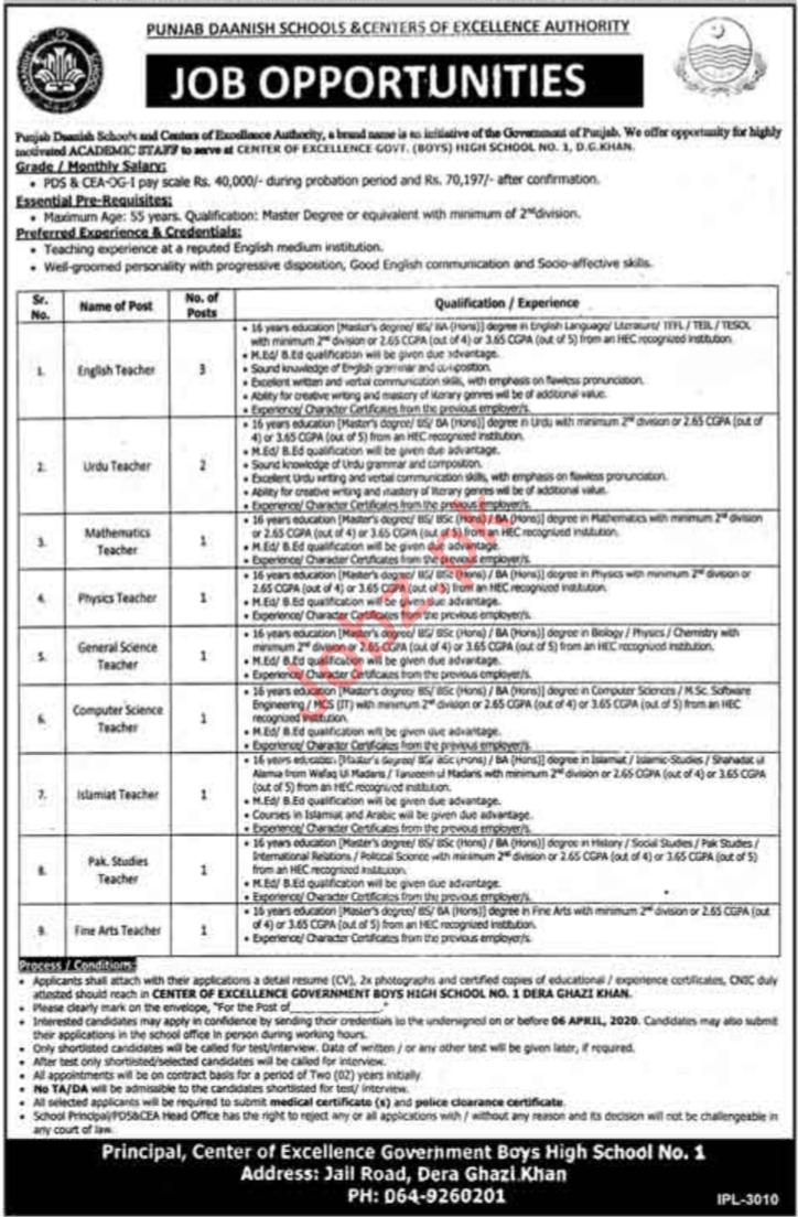 Punjab Daanish Schools & Center of Excellence Jobs 2020