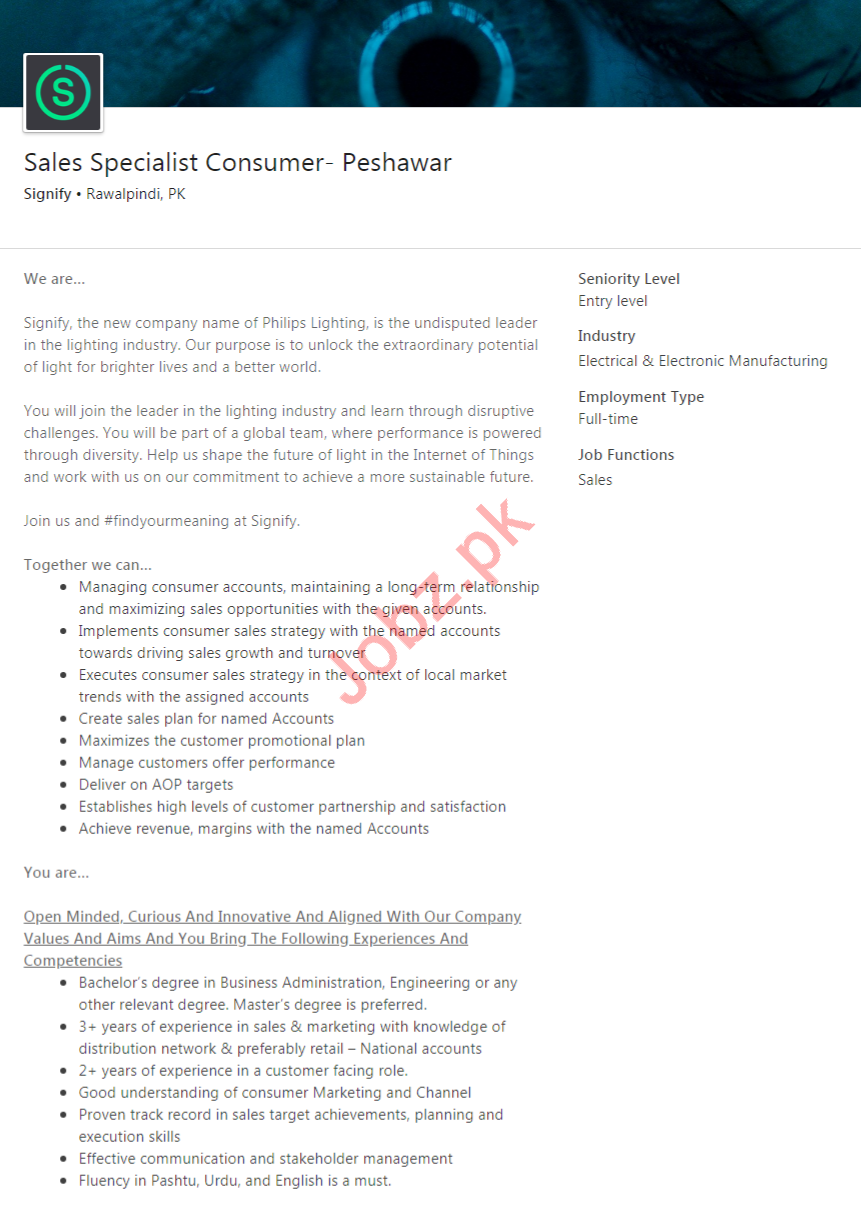 Sales Specialist Consumer Jobs in Signify Company