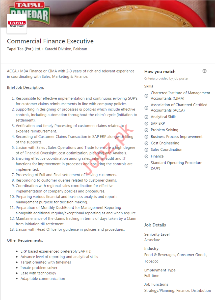 Commercial Finance Executive Jobs in Tapal Tea Company