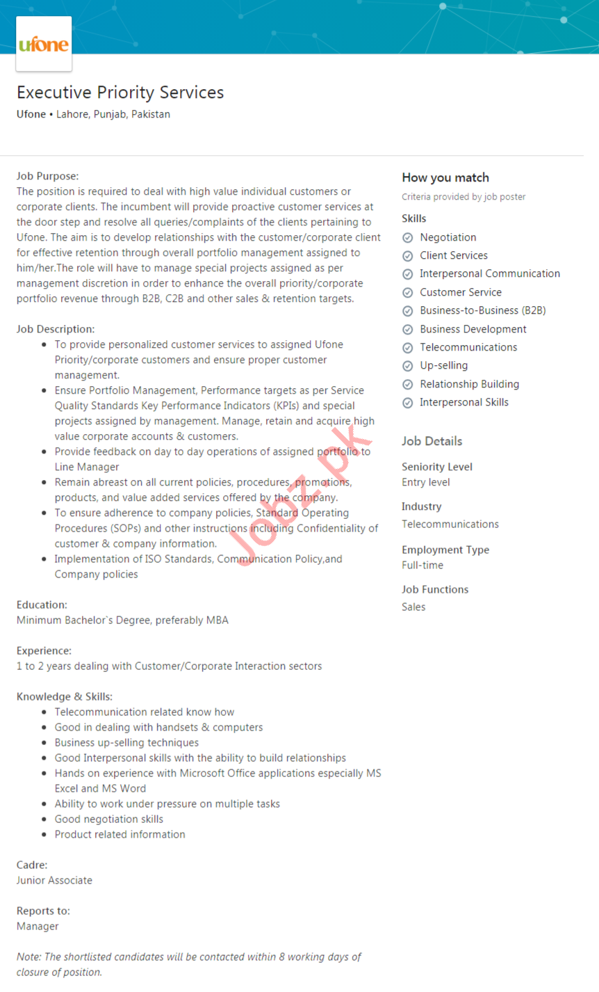 Executive Priority Services Job 2020 in Lahore