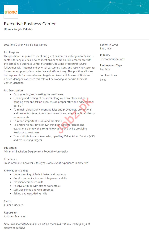 Ufone Telecom Company Job For Executive Business Center