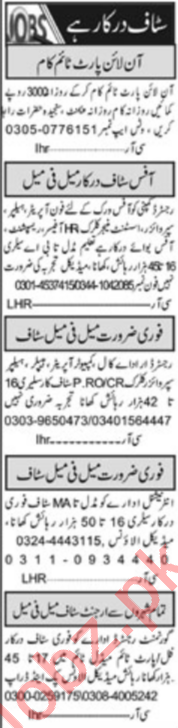 Daily Khabrain Newspaper Classified Jobs 2020 In Lahore