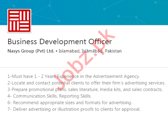 Business Development Officer Job 2020 in Islamabad
