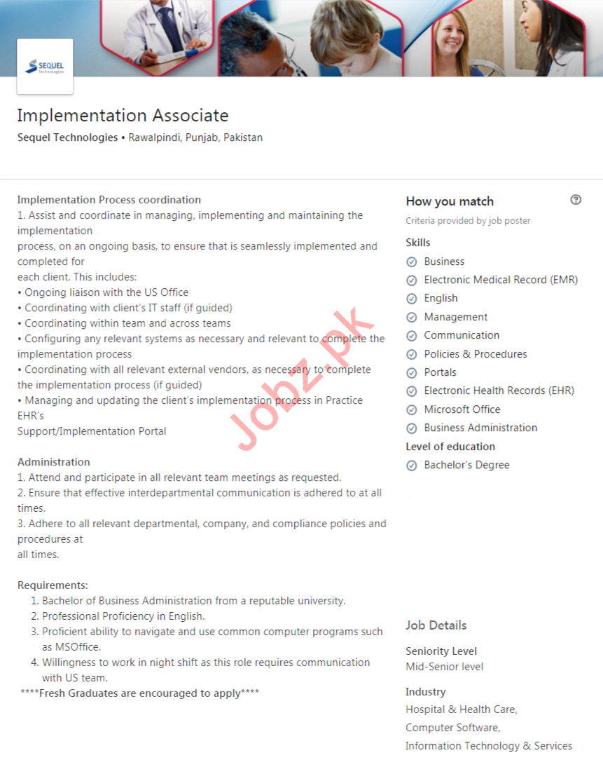 Implementation Associate Job 2020 in Rawalpindi