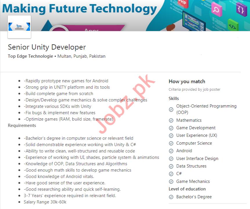 Senior Unity Developer Job 2020 in Multan