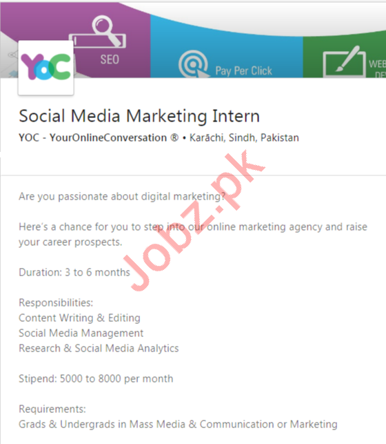 Social Media Marketing Intern Job 2020 in Karachi