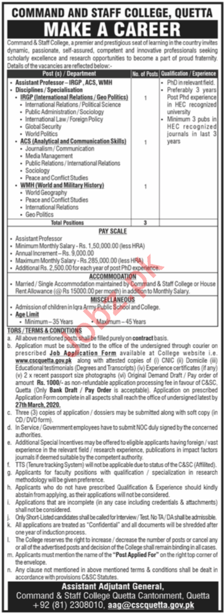 Command and Staff College Jobs 2020 in Quetta