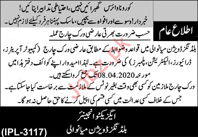 Buildings Division Jobs 2020 in Mianwali