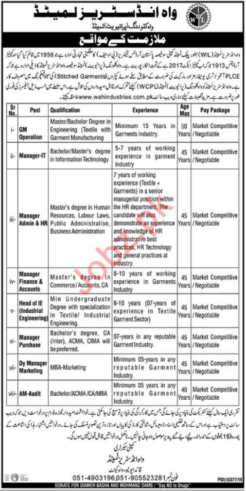 Wah Industries Limited Jobs 2020 in Wah Cantt