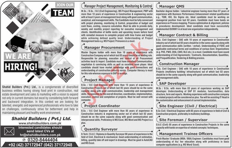Shahid Builders Pvt Ltd Jobs 2020 in Lahore