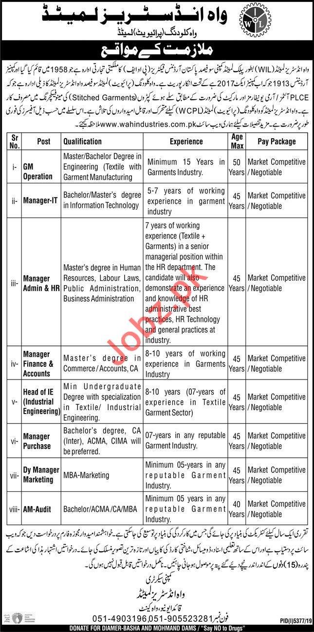 Wah Industries Limited WIL Jobs 2020