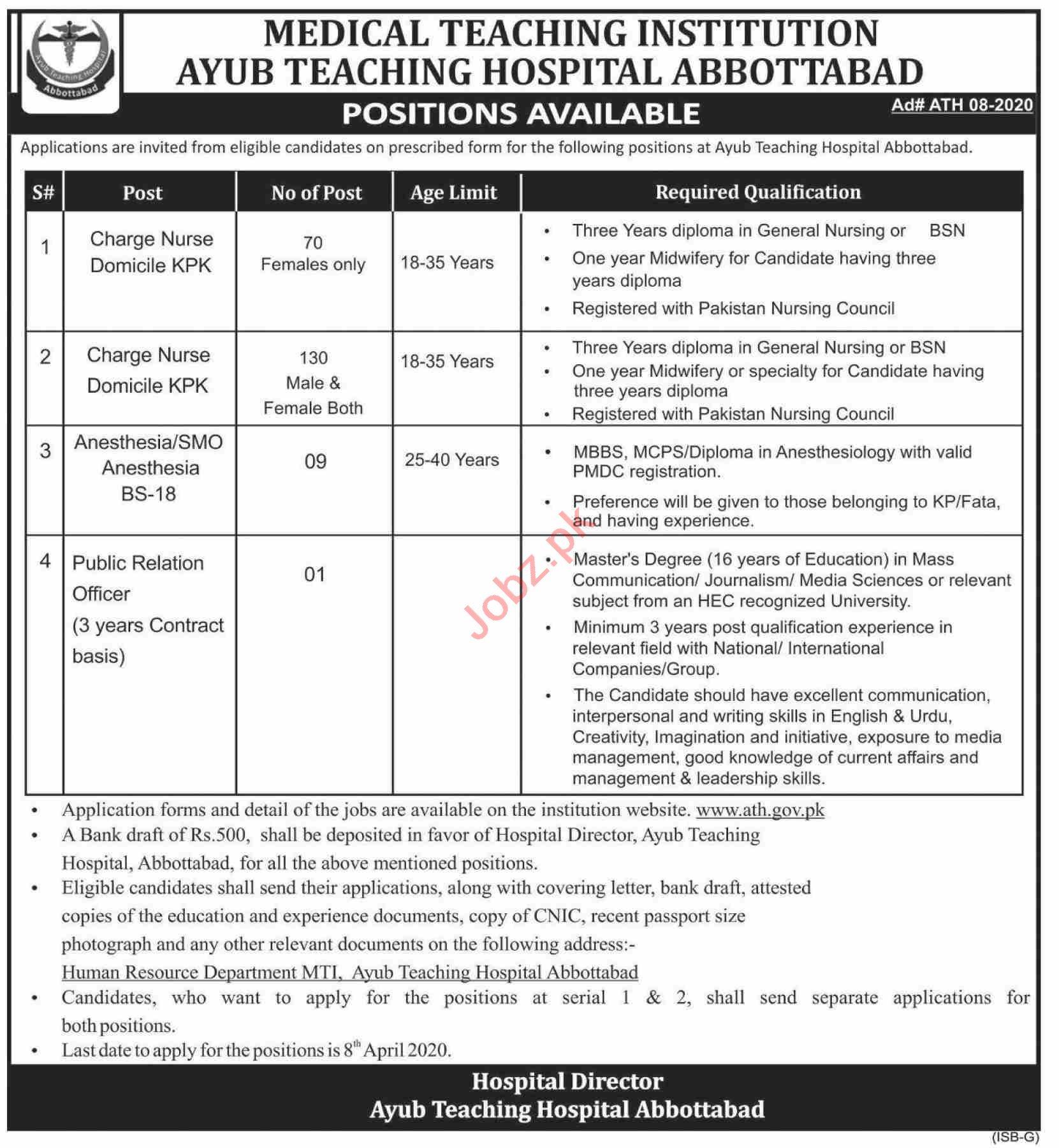 Ayub Teaching Hospital ATH Abbottabad Jobs 2020 for Nurses
