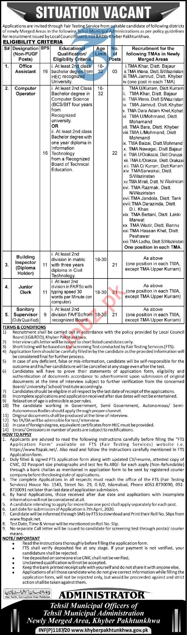 Tehsil Municipal Administration TMA Tribal Areas Jobs 2020