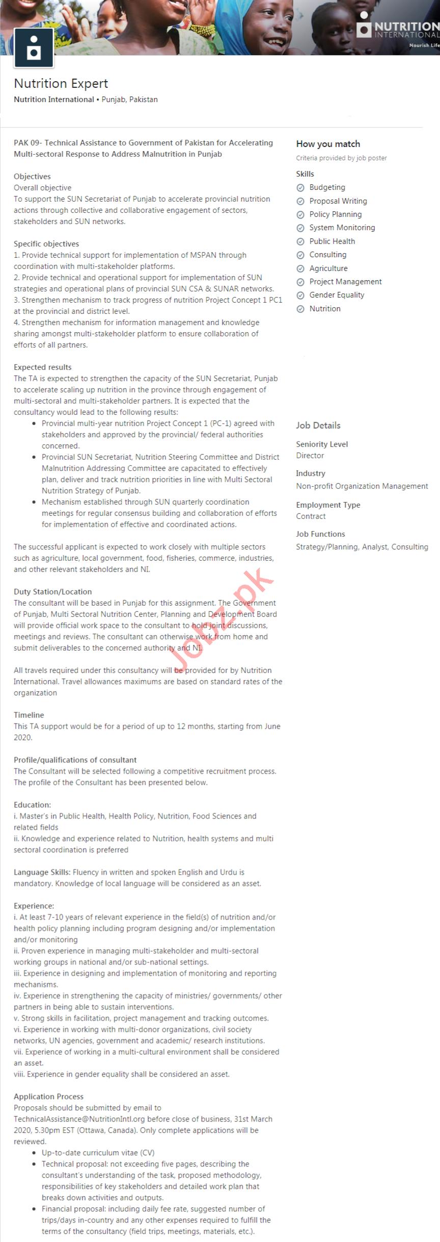 Nutrition International Pakistan Jobs 2020 Nutrition Expert