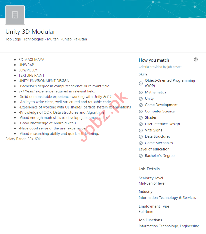 Top Edge Technologies Multan Jobs Unity 3D Modular