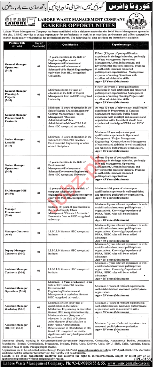 Lahore Waste Management Company LWMC Managers Jobs 2020
