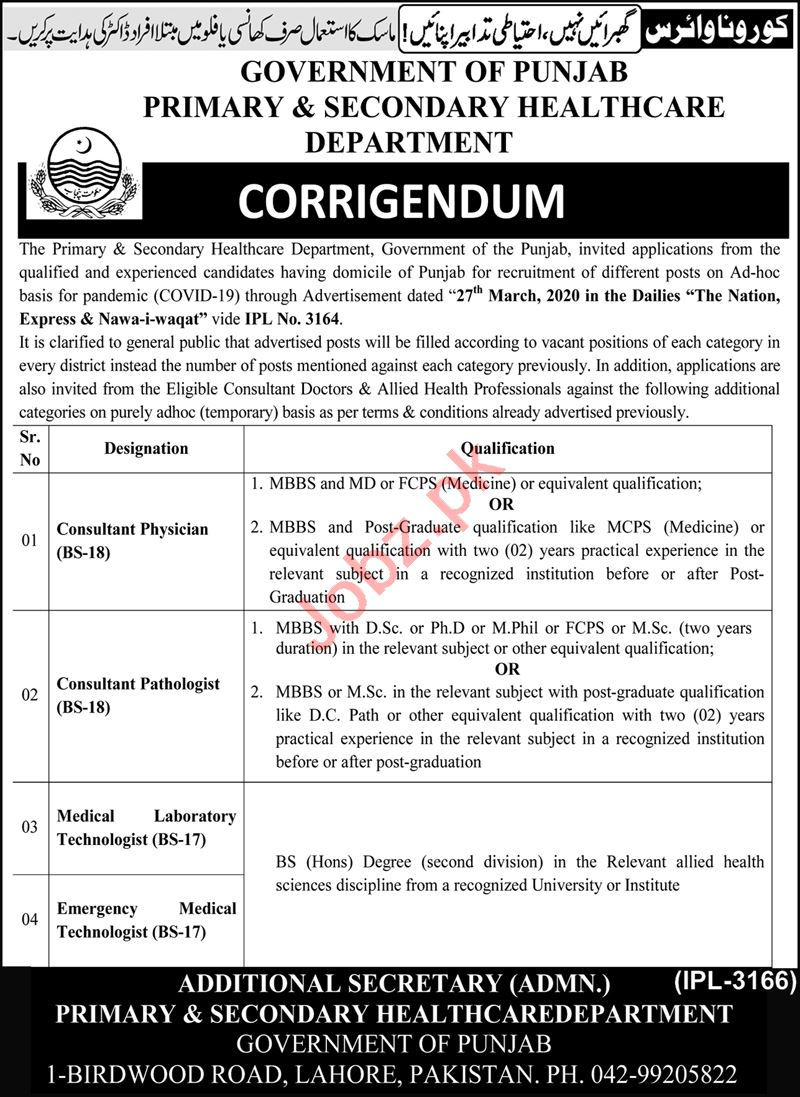 Health Department Punjab Jobs 2020 for Consultants