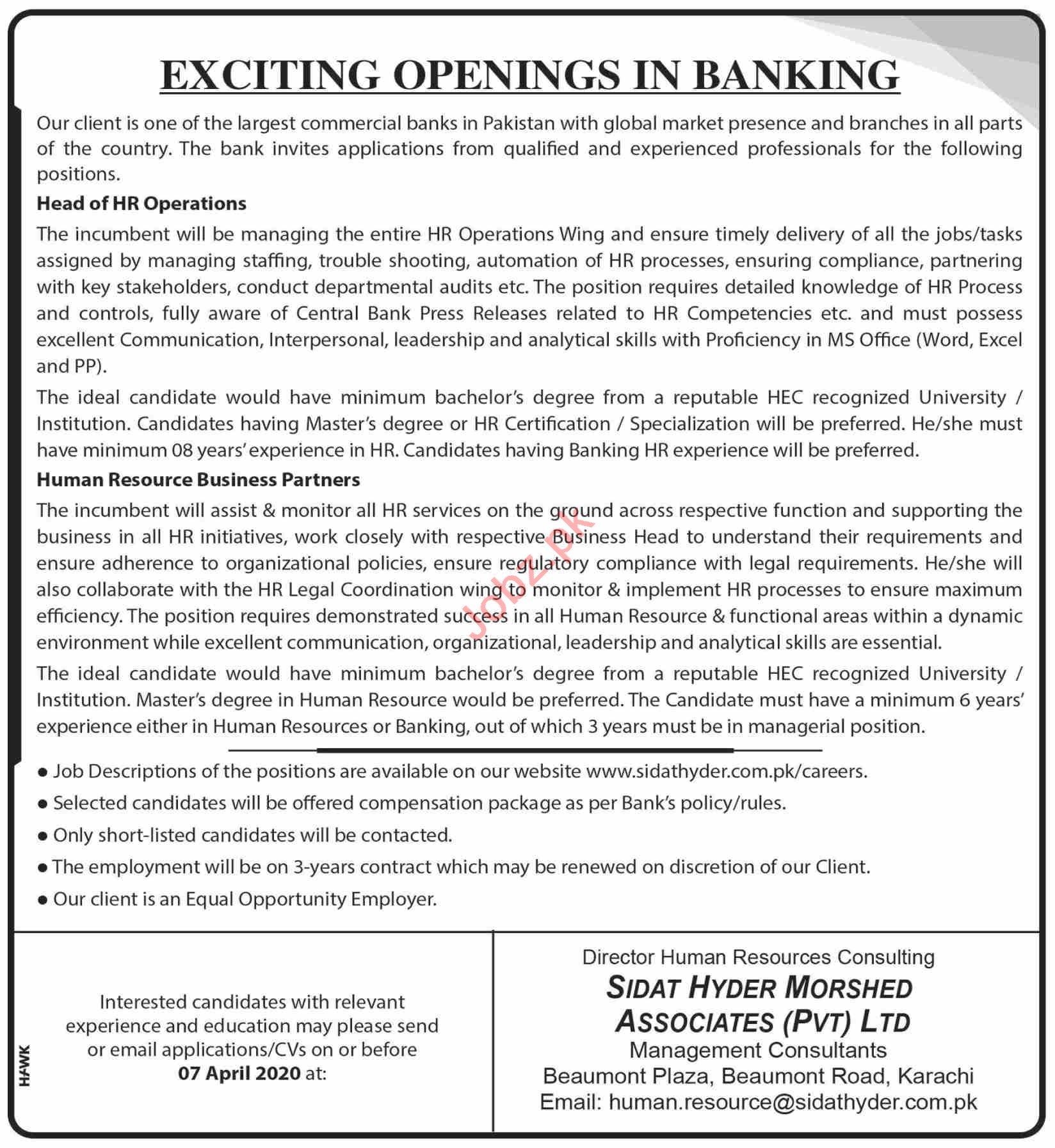 Sidat Hyder Morshed Associates Karachi Jobs 2020