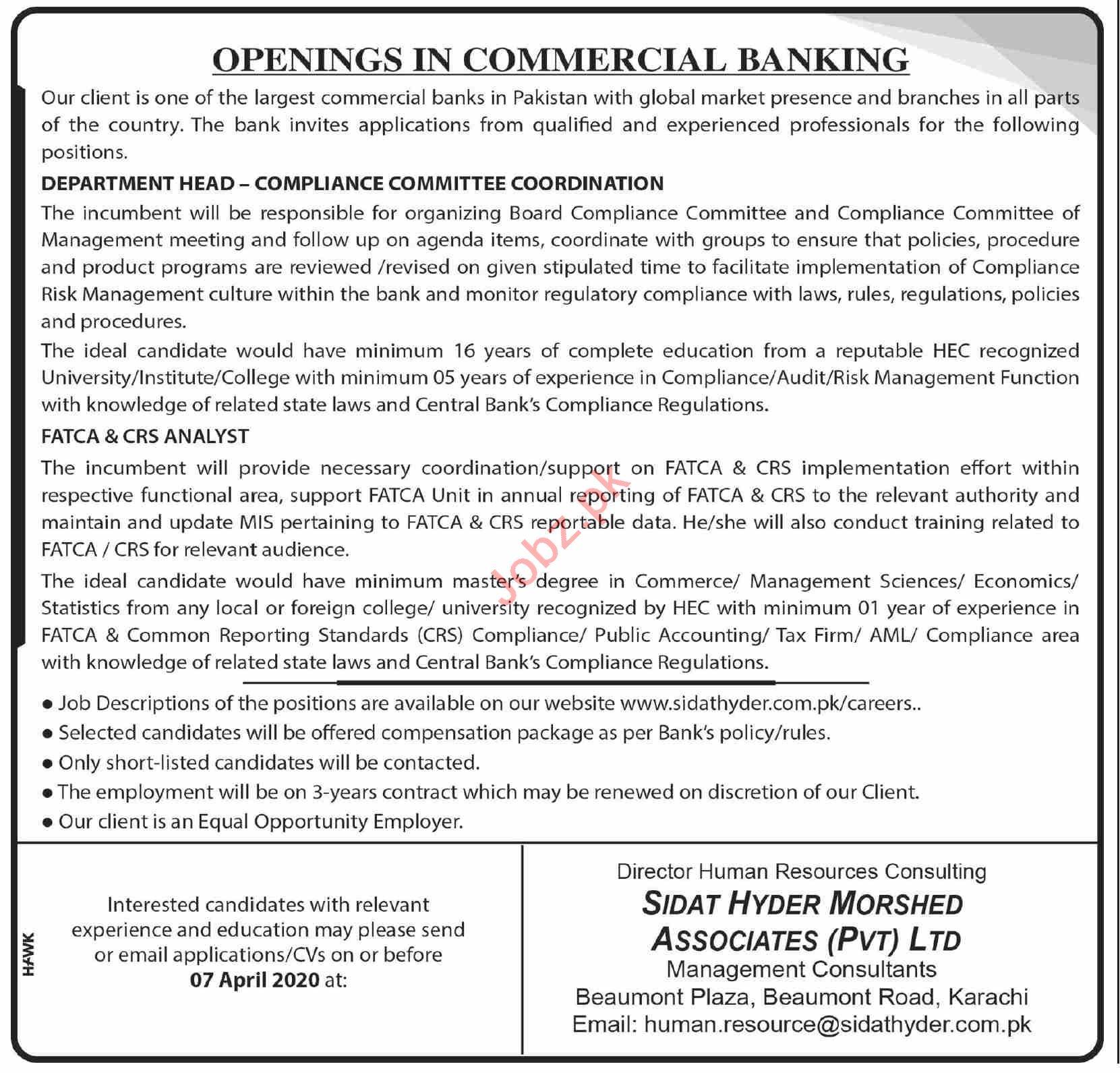 Department Head Jobs in Sidat Hyder Morshed Associates