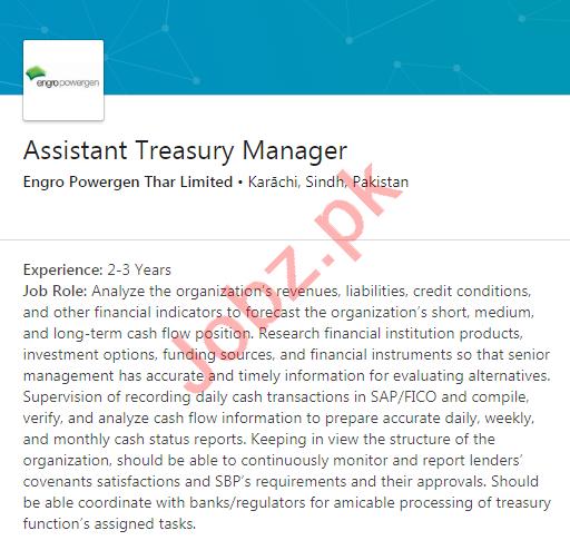 Engro Powergen Thar Jobs 2020 for Asst Treasury Manager