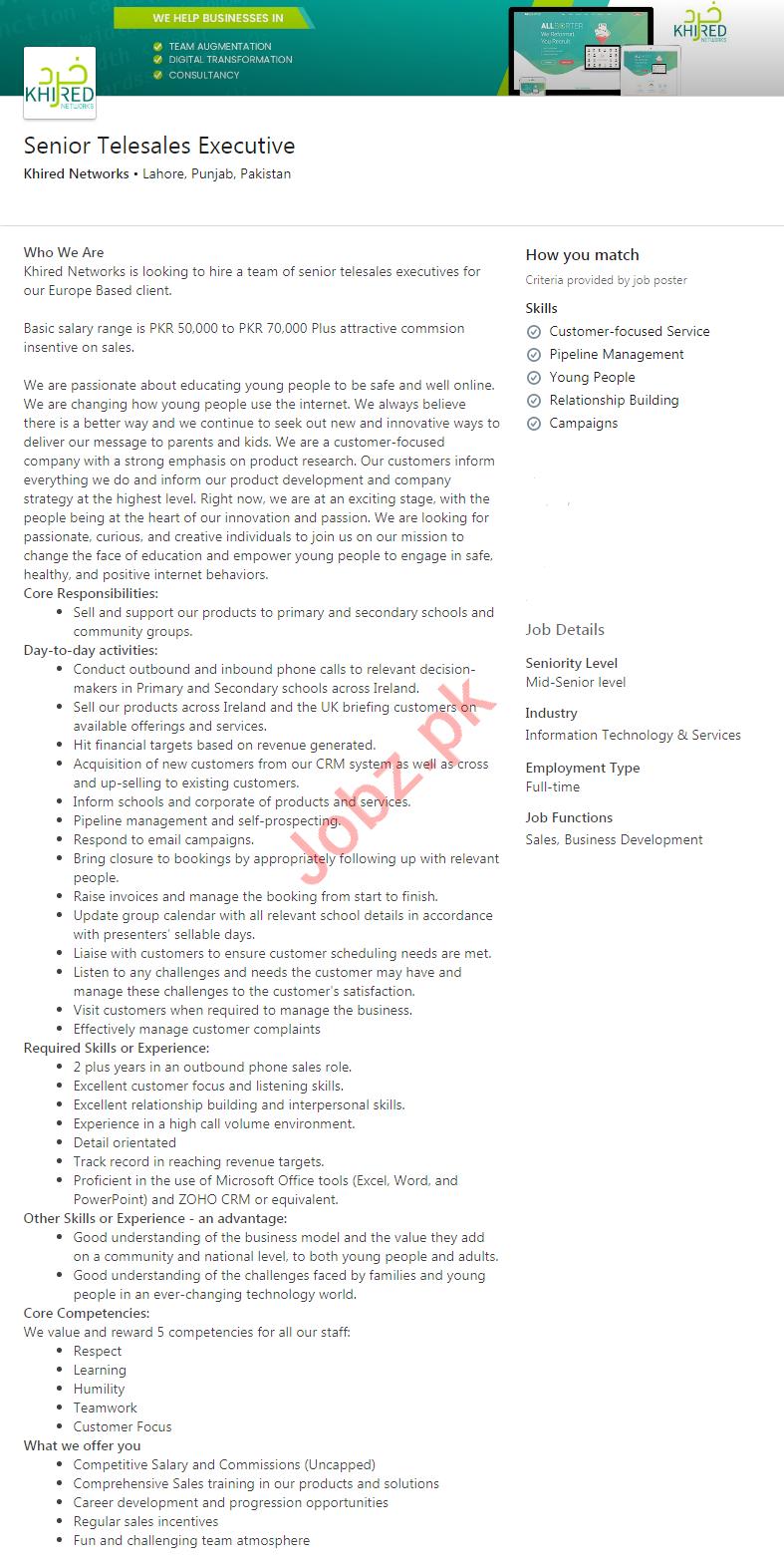 Khired Networks Lahore Jobs 2020 Senior Telesales Executive