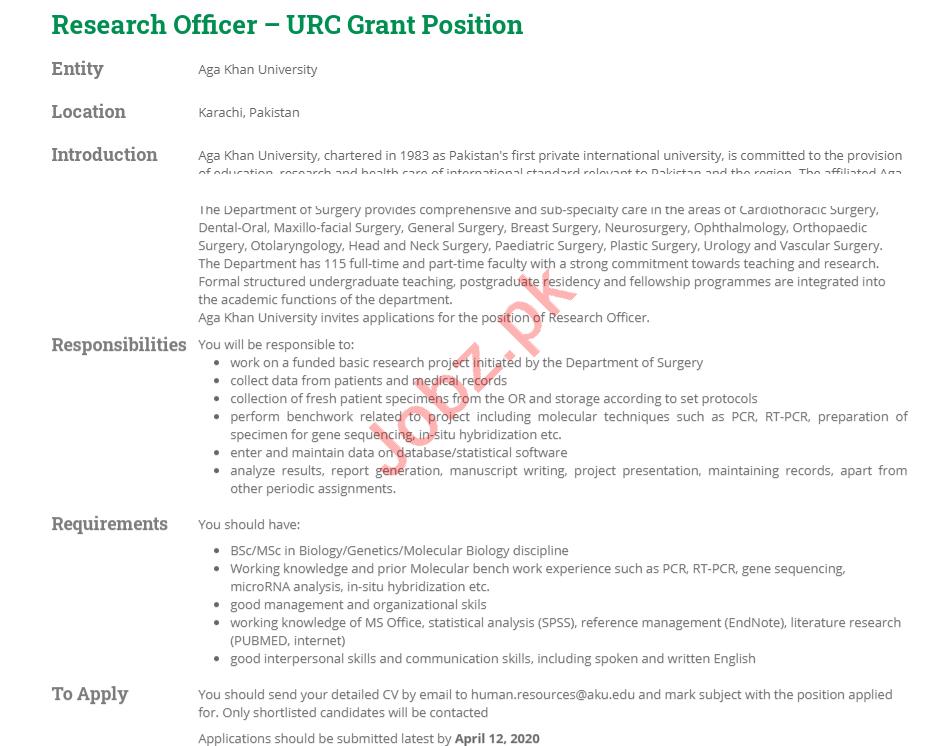 Aga Khan University AKU Jobs 2020 for Research Officer
