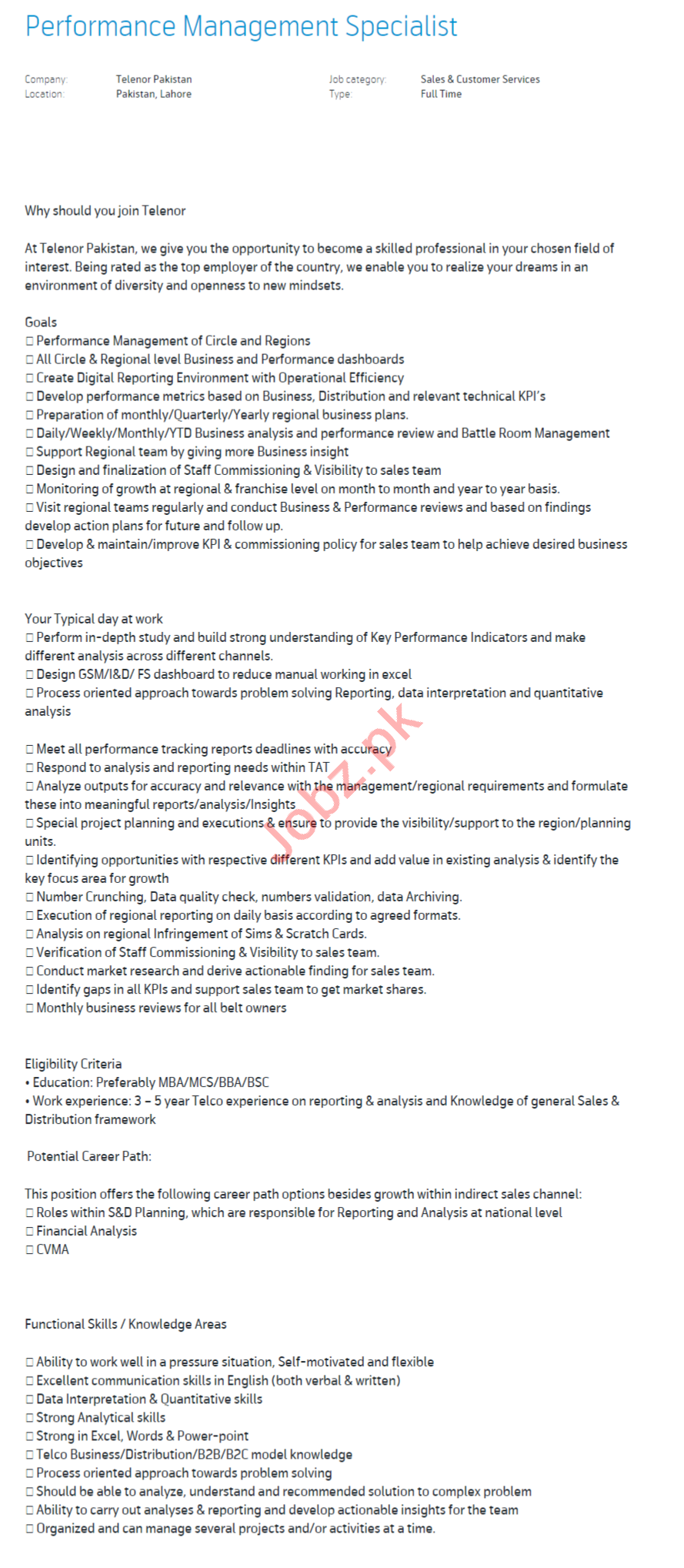 Performance Management Specialist Jobs in Telenor Pakistan