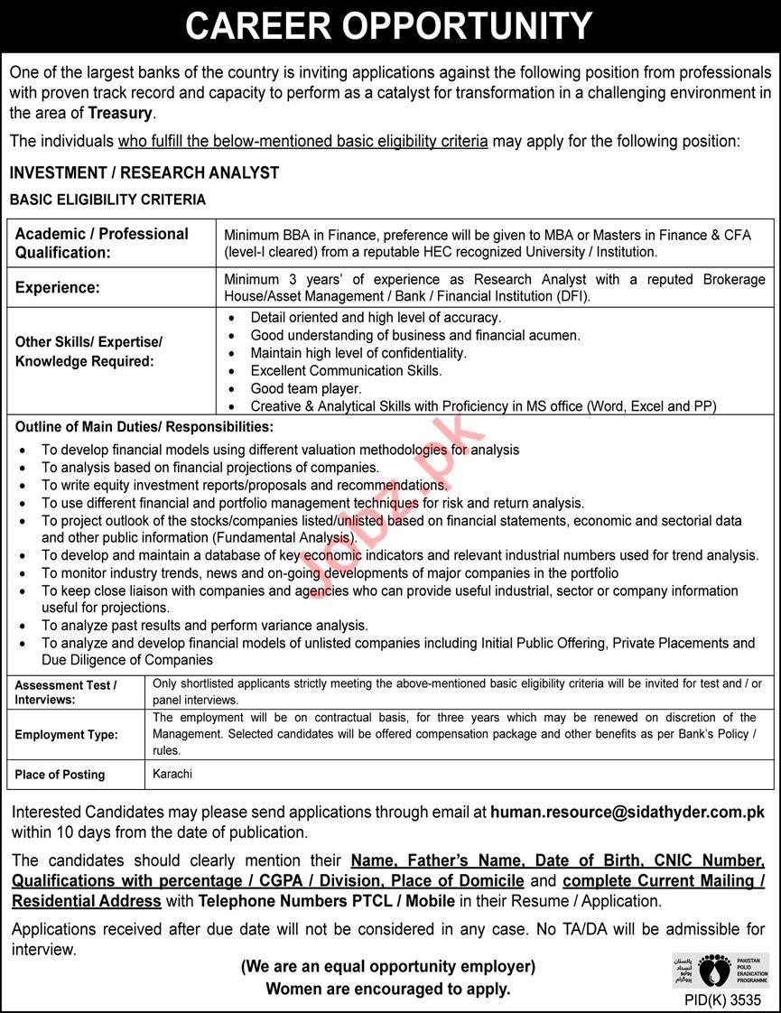 Investment Analyst & Research Analyst Jobs Open in Karachi