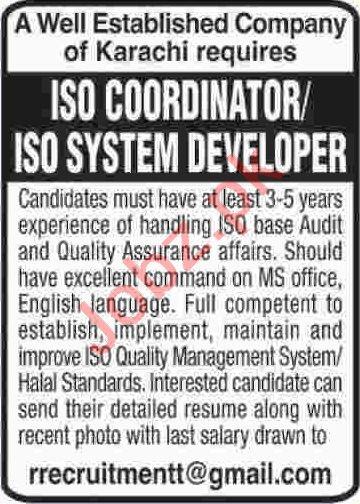 ISO Coordinator & ISO System Developer Jobs 2020