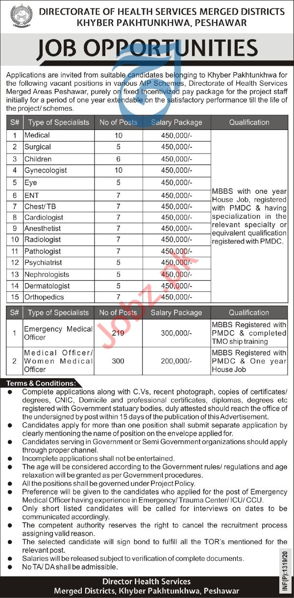Directorate of Health Services Merged Districts KPK Jobs