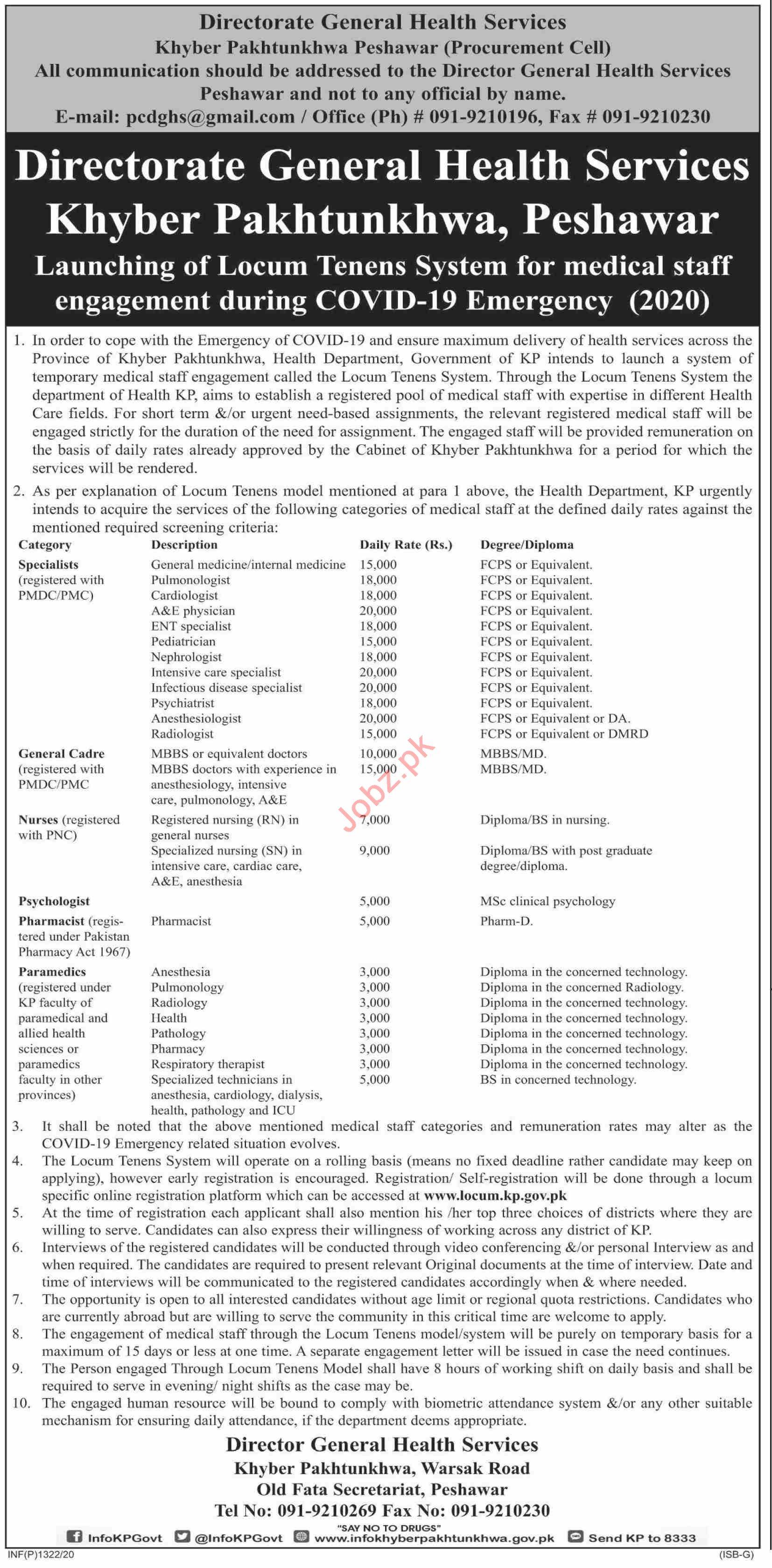 Directorate General Health Services DGHS KPK Jobs 2020