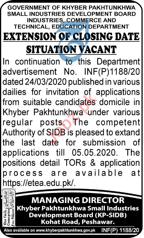 Small Industries Development Board SIDB Peshawar Jobs 2020
