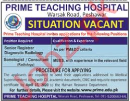 Prime Teaching Hospital Warsak Road Peshawar Jobs 2020