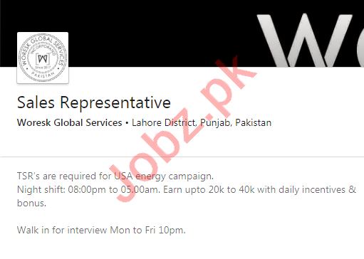 Woresk Global Services Lahore Jobs 2020 Sales Representative