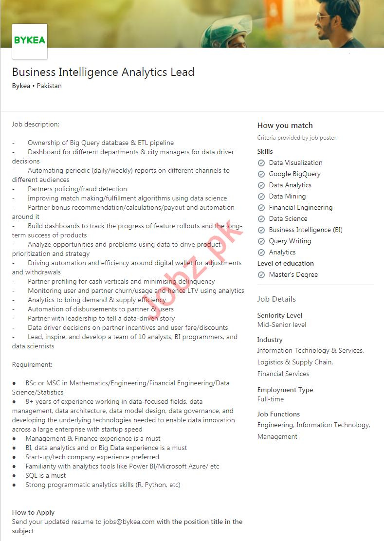 Bykea Pakistan Jobs 2020 Business Intelligence Analytics
