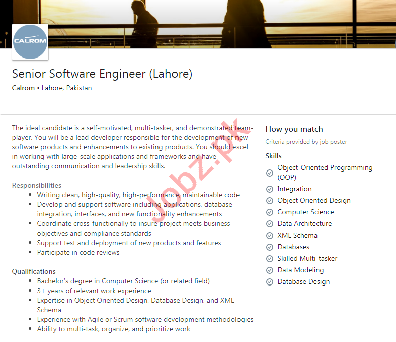 Calrom Lahore Jobs 2020 for Senior Software Engineer