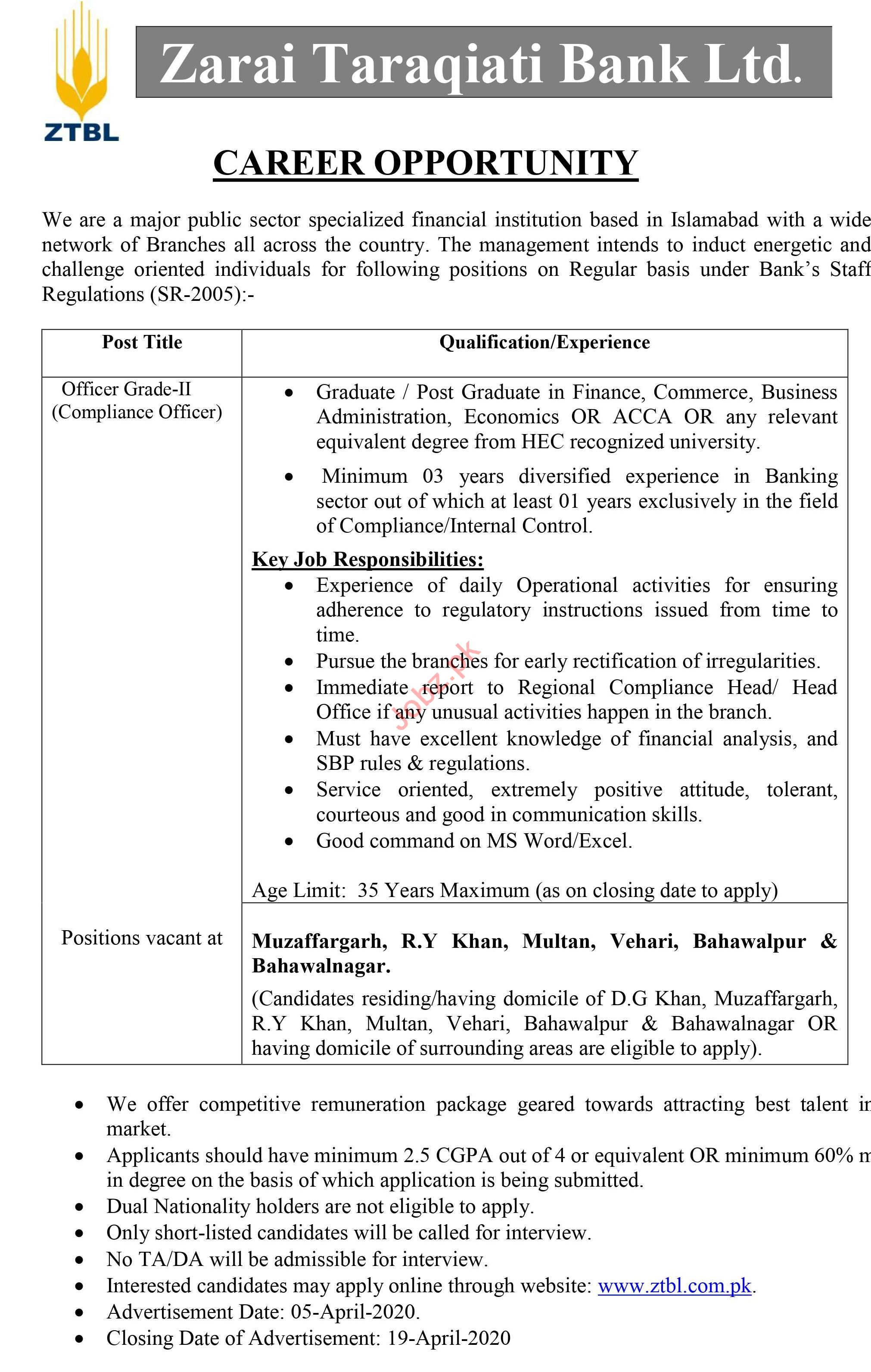 ZTBL Islamabad Jobs 2020 for Compliance Officer