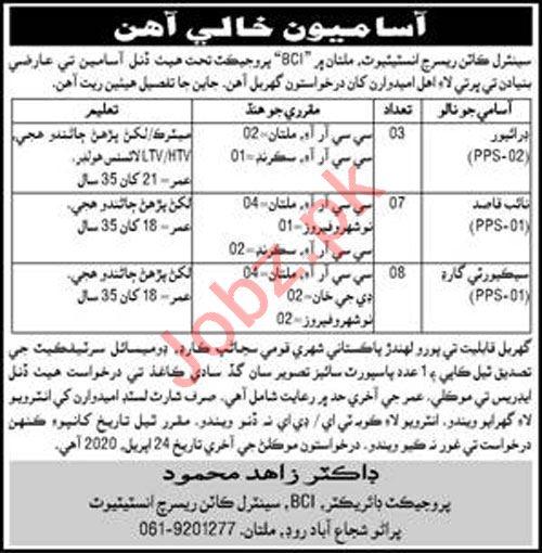 CCRI Central Cotton Research Institute Multan Jobs 2020