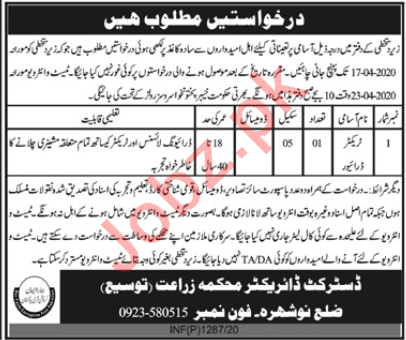 Agriculture Department Nowshera Jobs 2020 for Tractor Driver