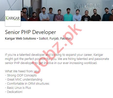 Karigar Web Solutions Sialkot Jobs 2020 for PHP Developer