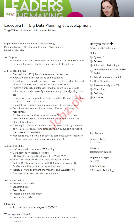Zong Pakistan Jobs 2020 for Executive IT