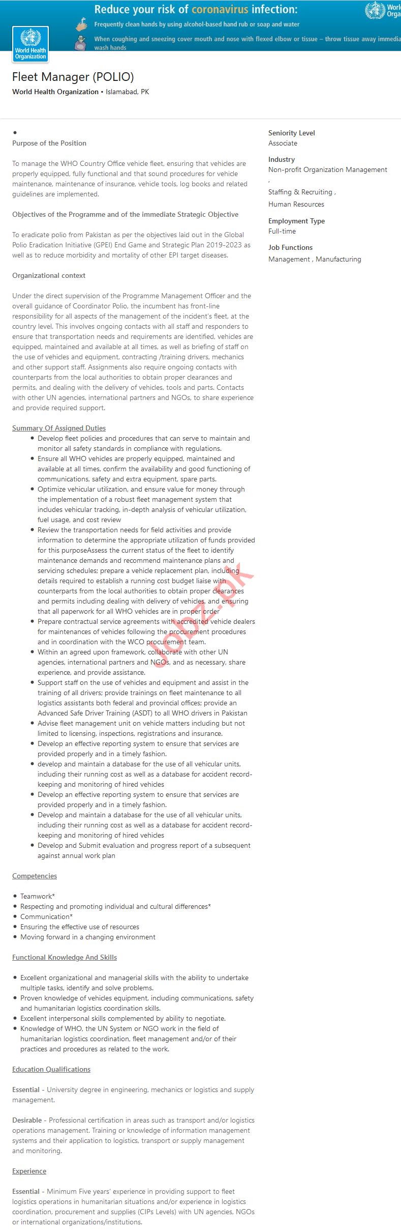 World Health Organization WHO Islamabad Jobs 2020
