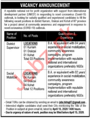 District Supervisor & Social Mobilizer NGO Jobs 2020 in KPK