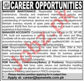 BP Sweets Karachi Jobs 2020 for Manager Maintenance